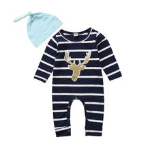 3 Pcs Pasgeboren Baby Kid Baby Boy Meisje Kleding T-shirt Tops + Gestreepte Broek + Muts Outfits Kleding Set 0-18 M