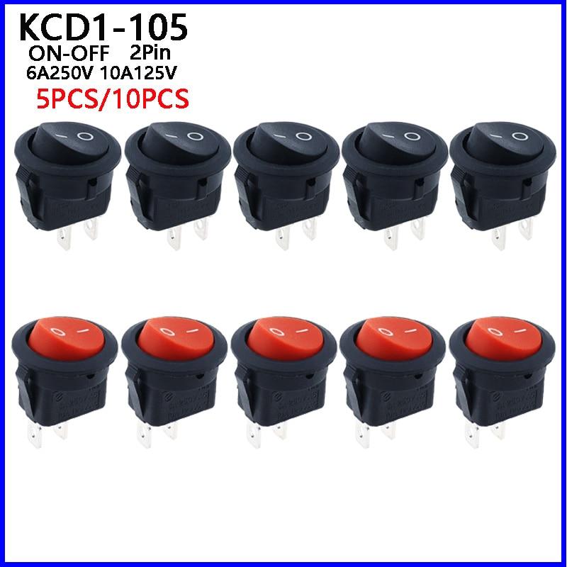 5 шт., маленькие круглые Клавишные переключатели KCD1-105 диаметром
