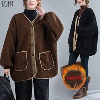 winter ladies woolen coat plus size thick amb wool solid mid length loose faux fur outerwear female vintage plush teddy jacket