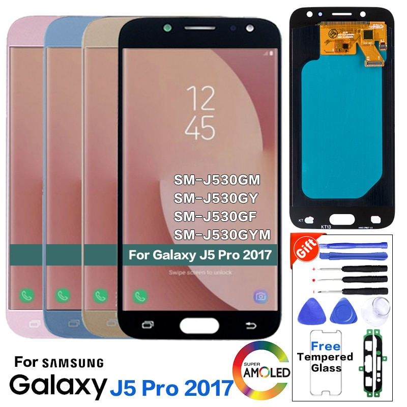 Super AMOLED LCD para Samsung Galaxy J5 Pro 2017 J530 J530F pantalla LCD táctil con ajuste de brillo