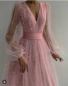 2021 Spring Summer Lantern Long Sleeve Sequins Dots Dresses Party Women Elegant Mesh Tulle Sexy Dress Female Vestidos Longo