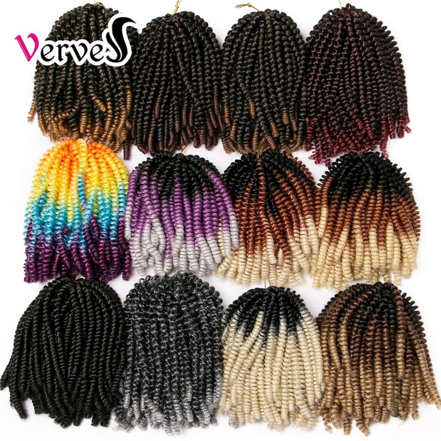 VERVES вязание крючком косы наращивание волос 8 Дюймов, 30 прядей/пакет синтетический пружинный скручивание Омбре плетение волос Красочные кос...