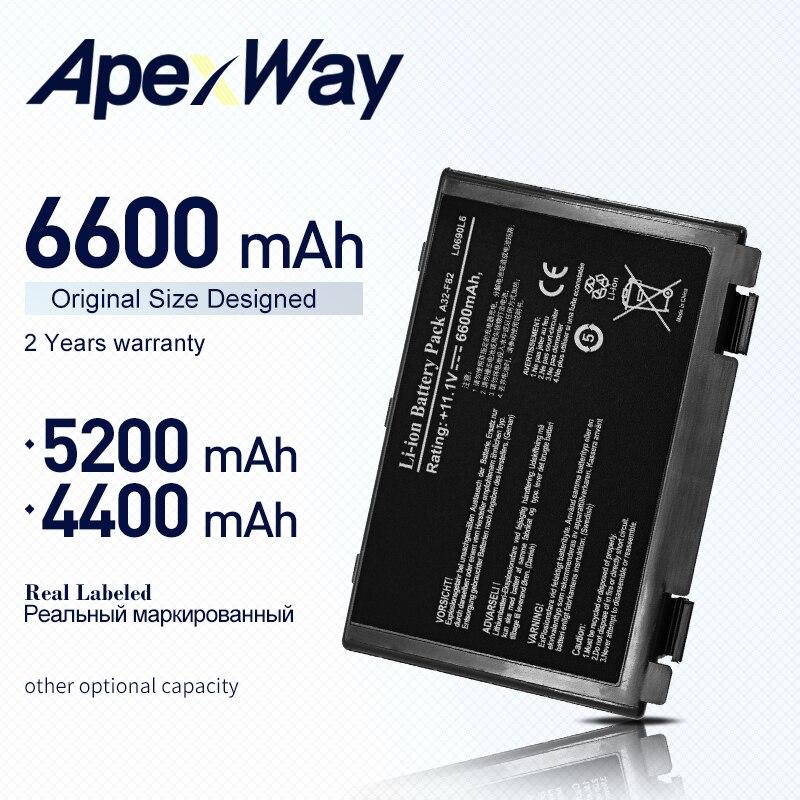 ApexWay 6 cell Batteria A32-F82 per Asus k40in k40ij k40ad k50ij K50in k50id k50af k51ac k51ae k60ij k61ic k70ab 90-NLF1B2000Z