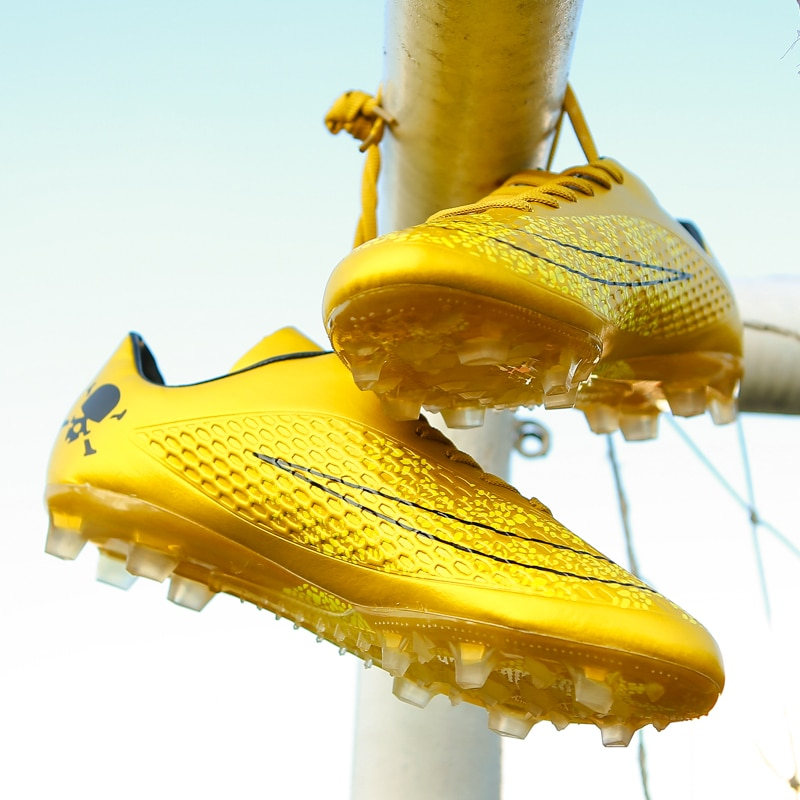 Unisex Soccer Shoes Long Spikes  Ankle Football Boots FG Outdoor Grass Cleats Football Shoes chuteira futebo Men Golden boots