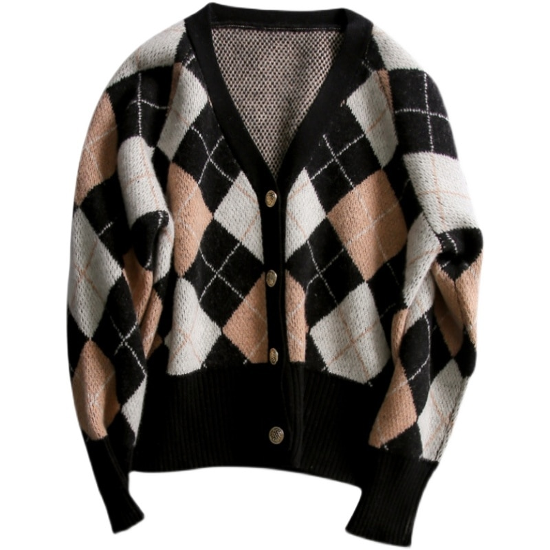 DY  Rhombus Plaid Print Cardigan Women Autumn V Neck Vintage Knitted Crop Top Sweater Casual Loose Knitwear Winter enlarge