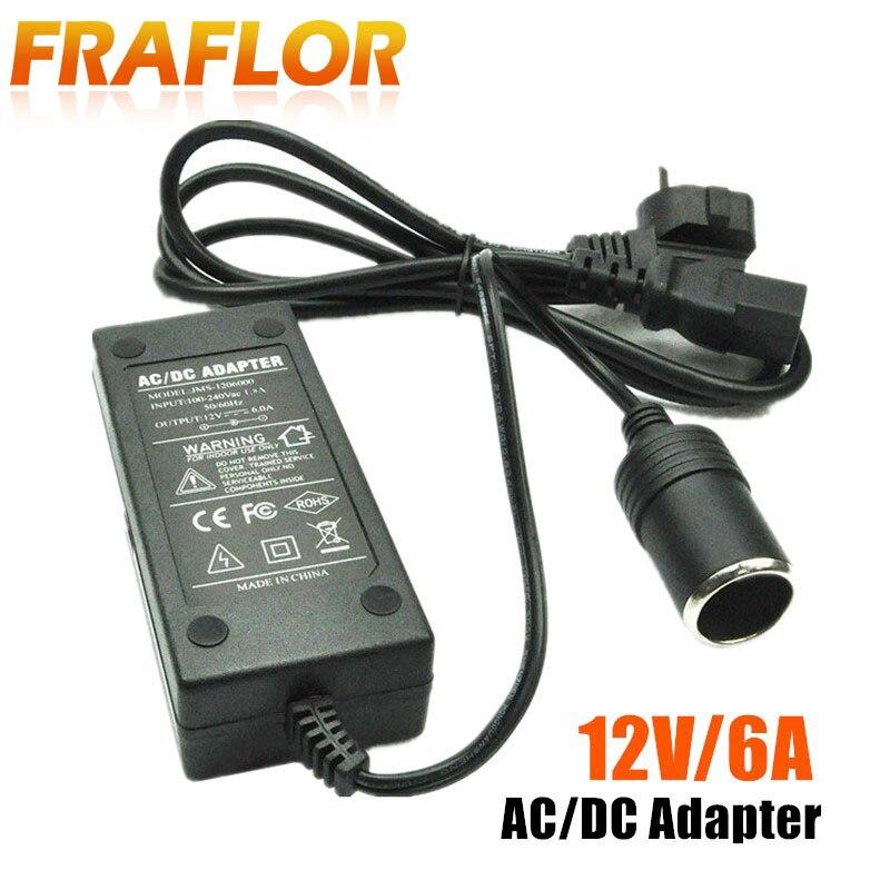Transformador cargador y adaptador de fuente de alimentación de salida, AC100-240V Universal de 12V CC, 6A, 110V/220V a 12V para coche