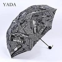 yada designer english newspaper pattern umbrellas luxury folding rainy umbrellas for women summer custom clear umbrella ys200087