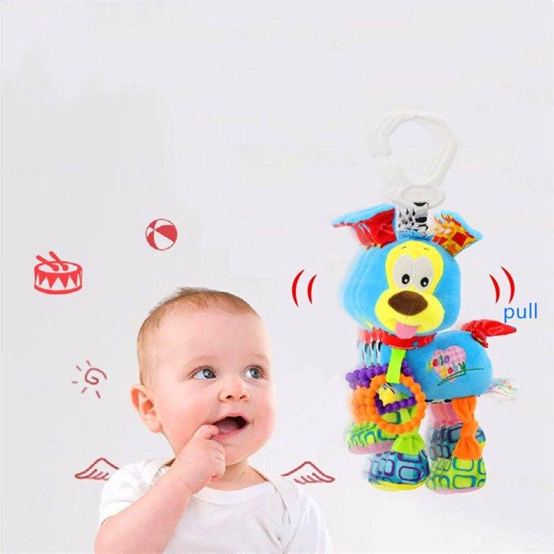Tirando de vibración cachorro móvil para cuna cama sonajero juguetes para Recién Nacido viajar cochecito de bebé juguetes de campana de cama colgante en desarrollo
