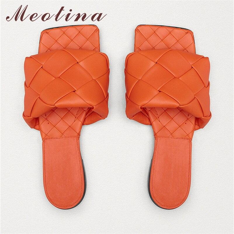 Meotina-حذاء نسائي صيفي مسطح منسوج ، صندل مفتوح من الأمام ، أحمر ، مقاس كبير 34-43