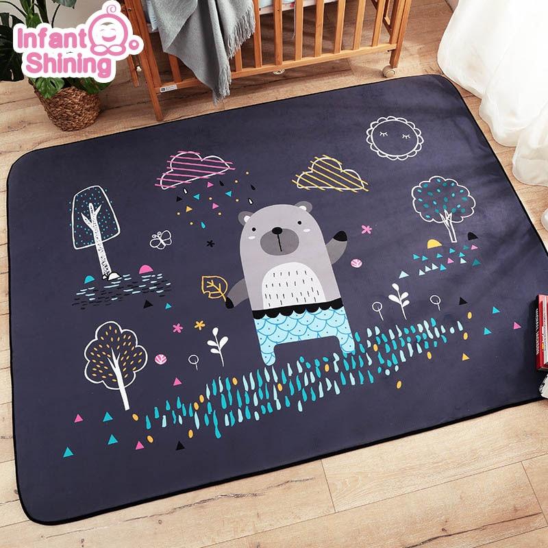 Alfombra infantil brillante para juegos de bebés, Alfombra de ante de dibujos animados, alfombra grande para sala de estar, alfombra gruesa para dormitorio infantil