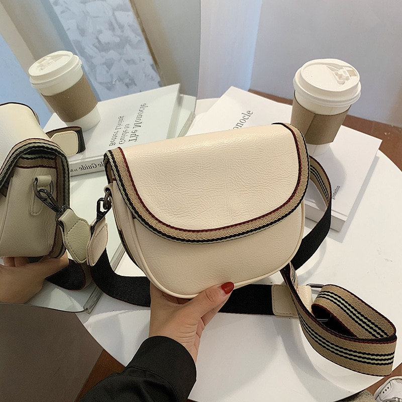 2020 new trendy fashion ladies wide shoulder strap retro saddle bag handbag high quality PU crossbody