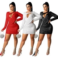 new autumn sexy sequined long sleeves solid color mini dress nightclub evening sequin hollowed out streamer sexy red dresses