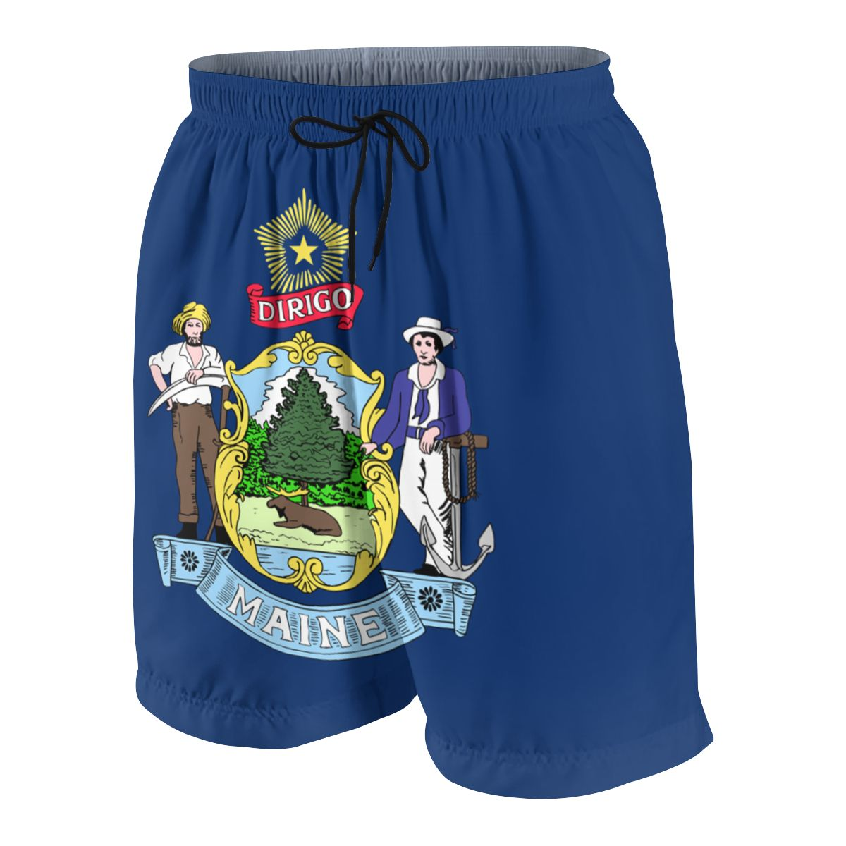 Maine Flag Teenagers Comfortable Fashion Fitness Joggers Quick-dry Cool Short Sweatpants