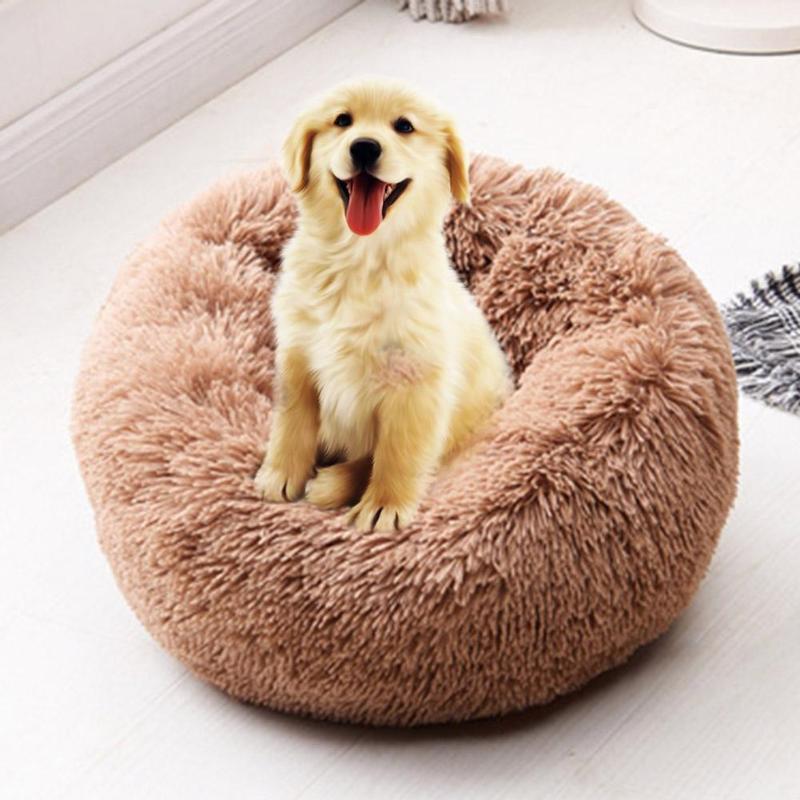 Cão macio cama lavável longo pelúcia canil do cão profundo sono casa do cão multi-cores ninho de animais de estimação produtos cesta do cão