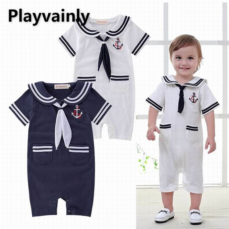 Baby boy Summer Romper 2021 New sailor collar Short Sleeve Cotton Romper Toddler Clothing E13255