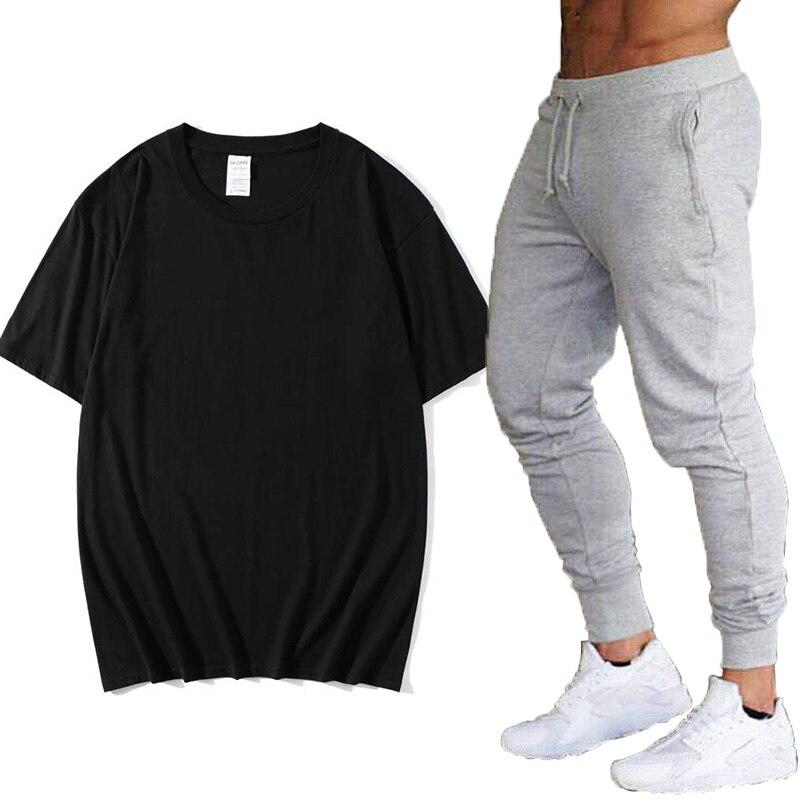 Новинка 2020, летний костюм с футболкой с коротким рукавом, мужская повседневная однотонная одежда + штаны, модный тренд, красивый мужской кос...
