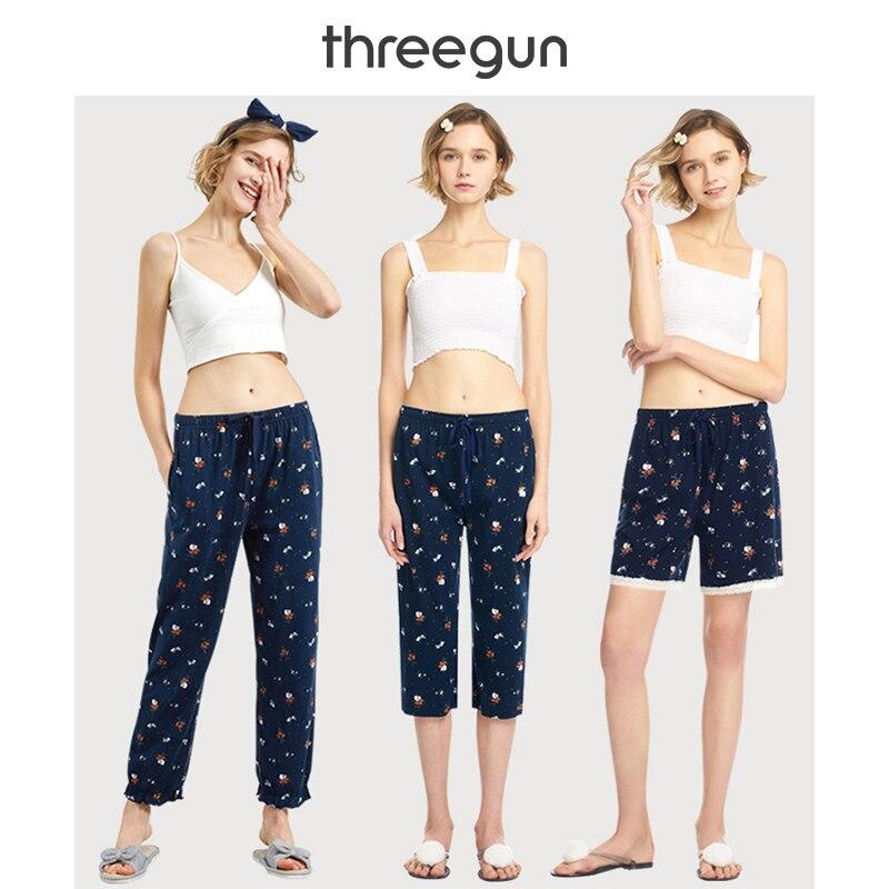 THREEGUN женские Пижамные шорты укороченные штаны полной длины кружевные Хлопковые