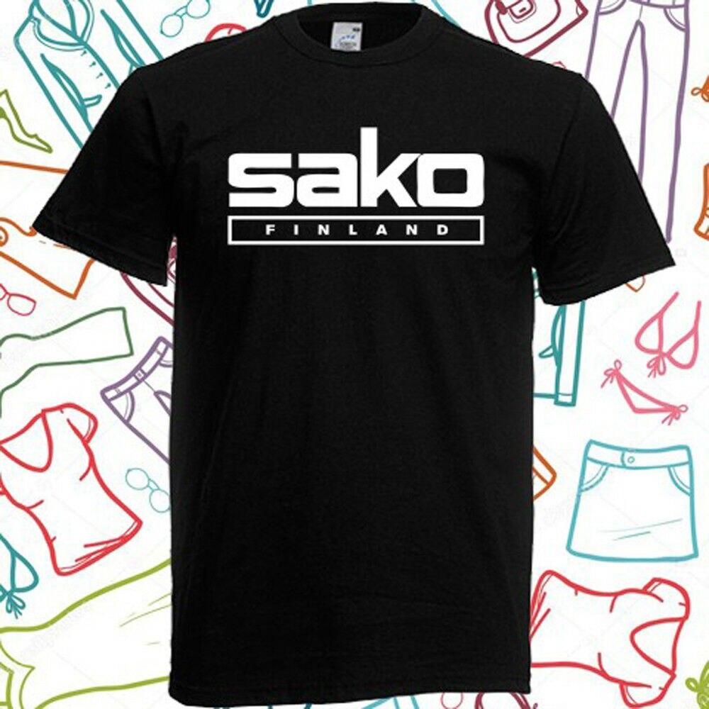 Camiseta negra SAKO Finland Pistols Riffle con Logo para hombre talla S a 3XL
