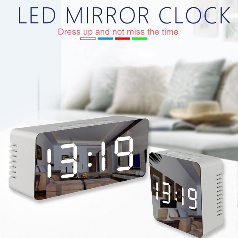 Led espelho despertador com função de temperatura snooze dimmer para o quarto escritório viagem digital casa decoração relógios