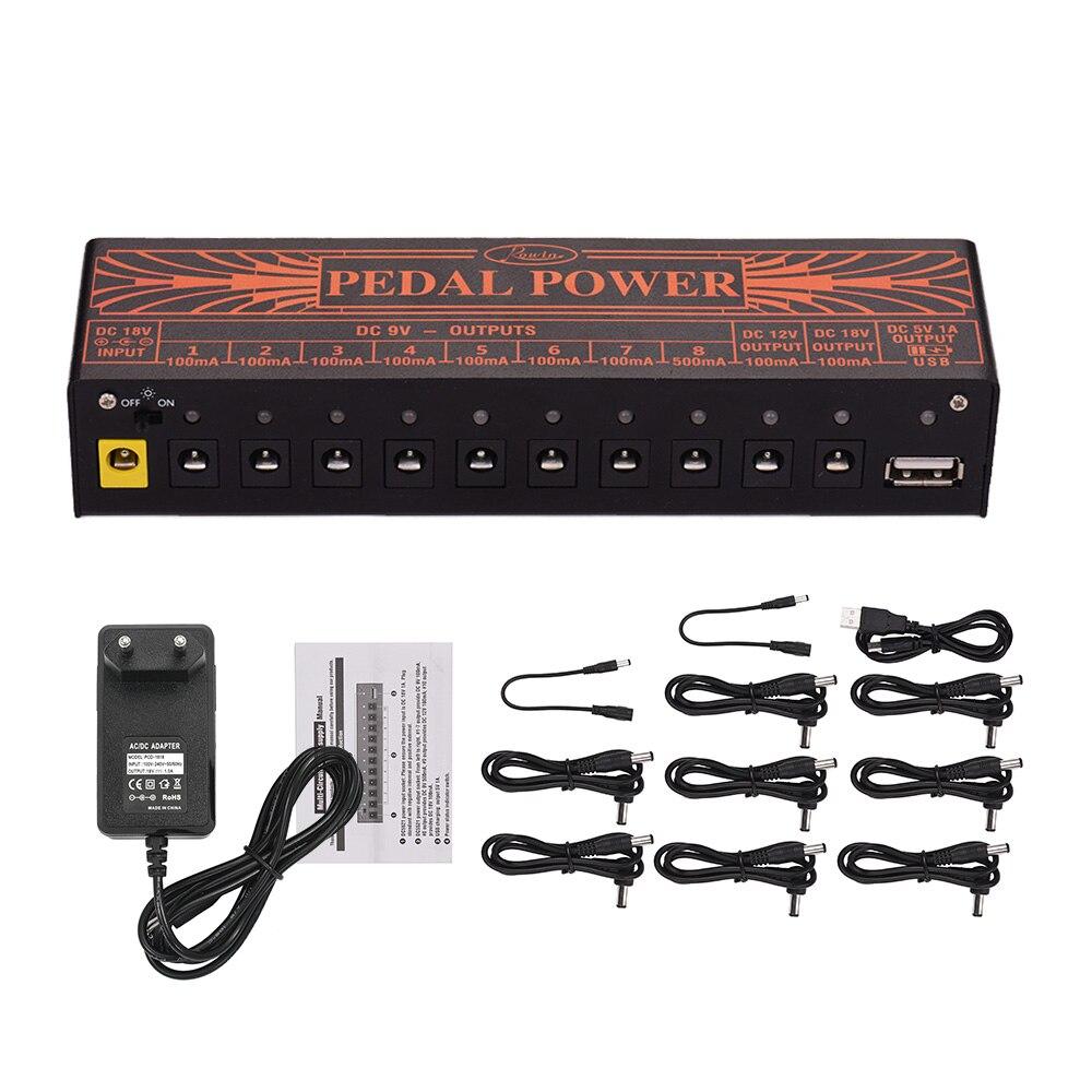 Estación de alimentación de guitarra Rowin, multifuncional, tamaño compacto, 10 salidas de CC aisladas para efectos de guitarra de 9V 12V 18V