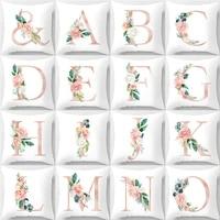 home decoration english alphabet cushion ccover linen cotton square pillowcase cover for pillow 6060 autumn decoration pink