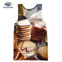 sonspee 3d print men woman vest chocolate cake pizza ice cream fashion hip hop casual comfortable breathable oversize vest tops