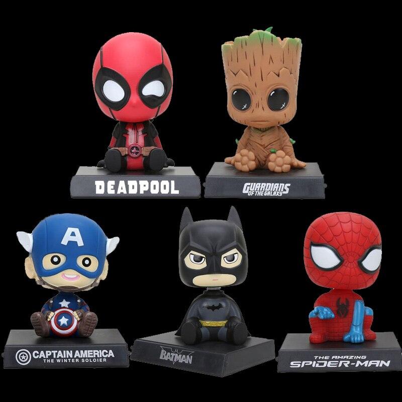 Portabebés, figuras de animé, figuras de acción del Capitán América, Spiderman, bebés, guardianes de la galaxia, árbol, hombres, adorable soporte para coche, regalos