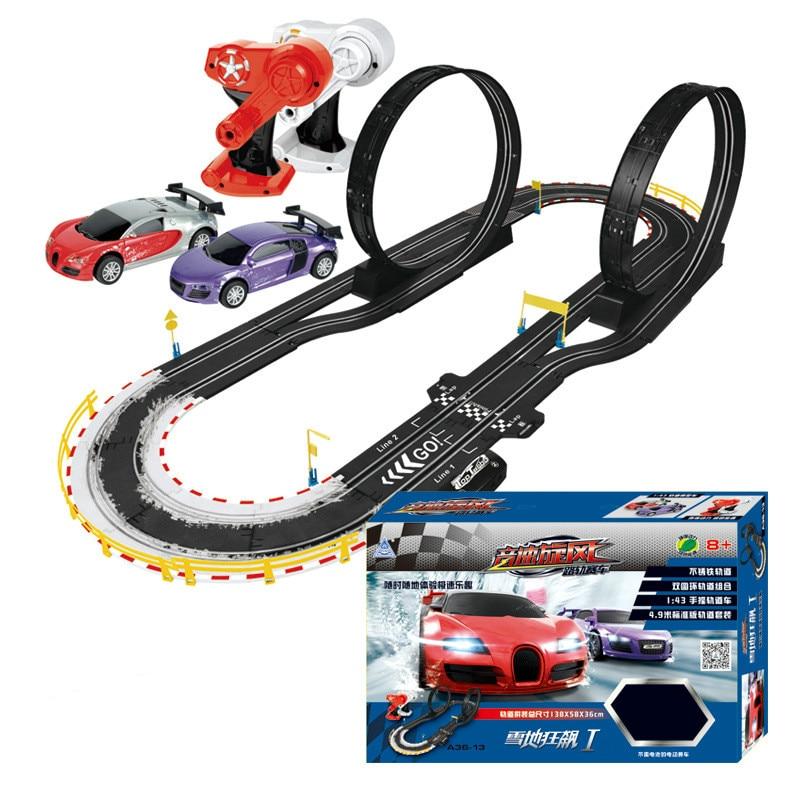 Tren Eléctrico 143, pista, juego de ranuras para coches, juguete para niños, pista de carreras de vía férrea con Control remoto de doble circuito para coche, juguete para regalo