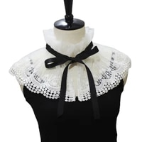 stand up collar fake collar shawl sweet embroidery floral lace decorative necklace half shirt hollow mini poncho capelet