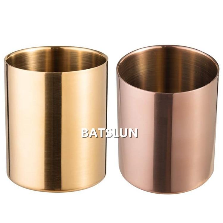 100 Uds 14oz jarrón de latón de estilo nórdico de acero inoxidable titular de la taza de lápiz soporte para brochas de maquillaje organizador de escritorio de papelería