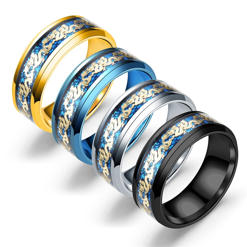 Фото - 2020 Europe and the United States popular Japanese and South Korean four-color double dragon gold piece gold dragon piece ring f natalie yacobson swan and dragon dragon empire
