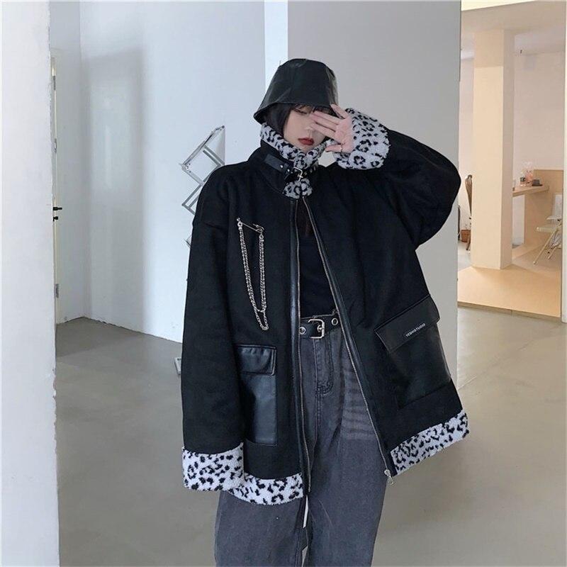 الكورية نمط Harajuku ارتداء على كلا الجانبين ليوبارد الأدوات معطف رشاقته سترة خمر سستة امبسوول الدفء ملابس قطنية
