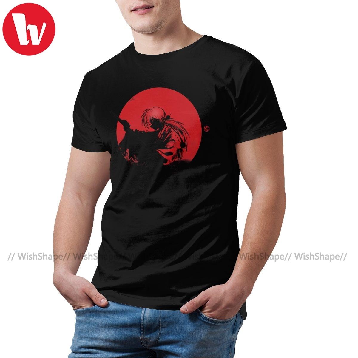 Camiseta Rurouni Kenshin, camiseta roja de Sun Rurouni, camiseta estampada 100 por ciento de algodón, camiseta de playa para hombre, camiseta 5x