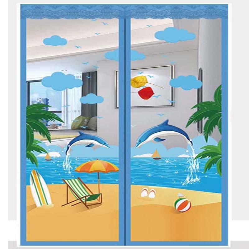 التطريز الأزرق دولفين الصيف مكافحة البعوض يطير علة الحشرات ستارة الباب المغناطيسي صافي التلقائي إغلاق غرفة نوم شبكة عالية الكثافة