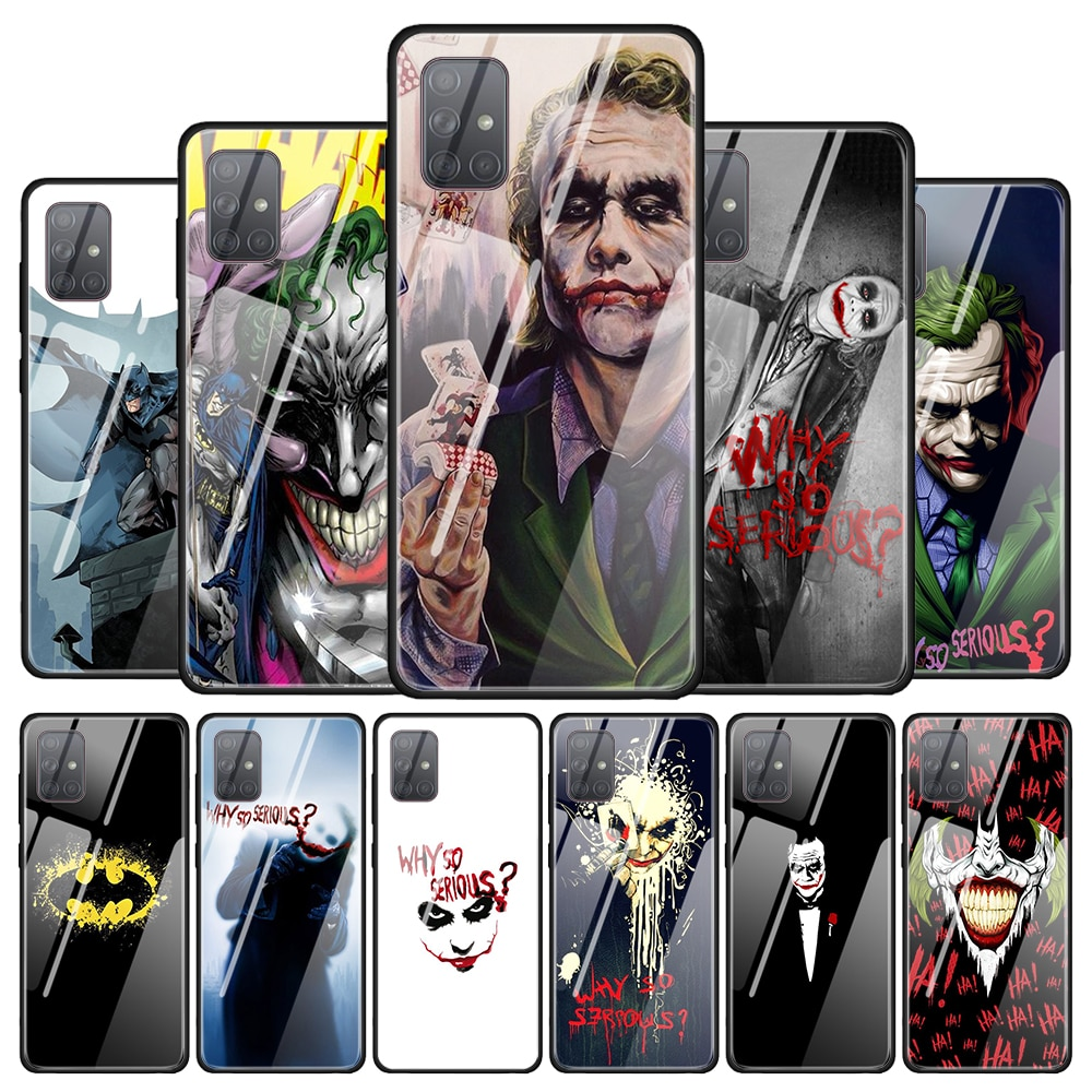 Funda de vidrio templado para Samsung Galaxy A10 A20 A30 A40 A50 A70 A51 A71 A81 A91 A01 carcasa de teléfono Batman Joker Dark Knight