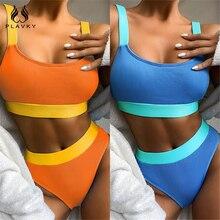 Sexy Neon Blau/Orange Rippen Hohe Taille Cut Bikini 2020 Badeanzug Frauen Tanga Bademode Strand Tragen Schwimmen Badeanzug 2 stück Set