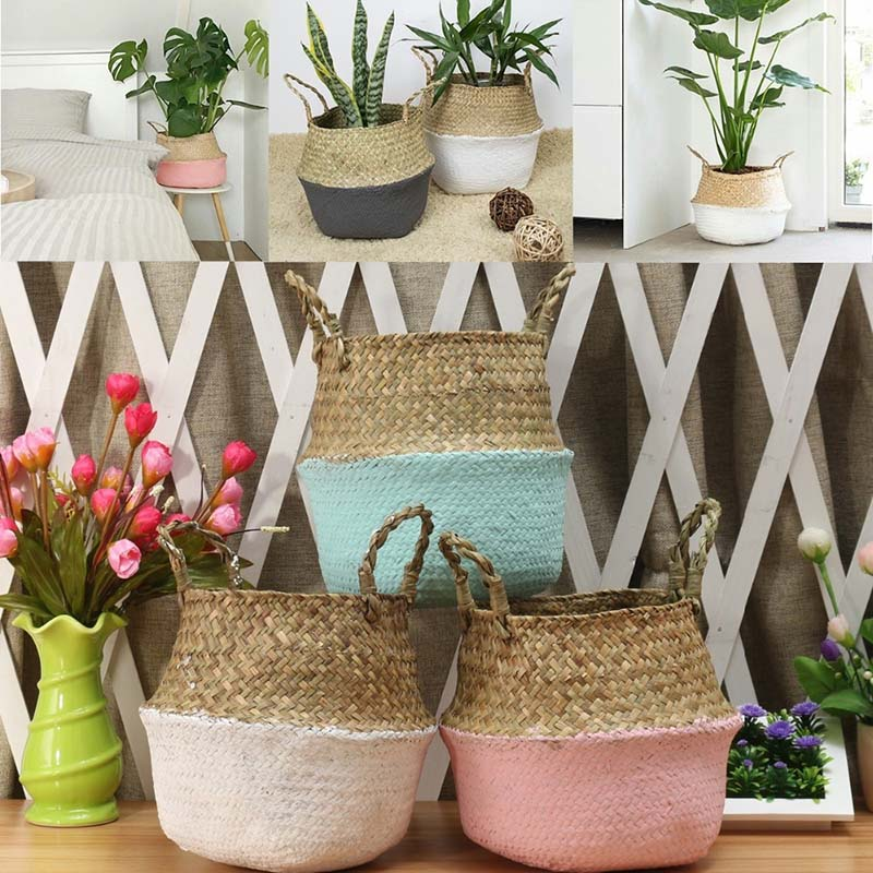 New Bamboo Storage Baskets Foldable Laundry Straw Patchwork Wicker Rattan Seagrass Belly Garden Flow