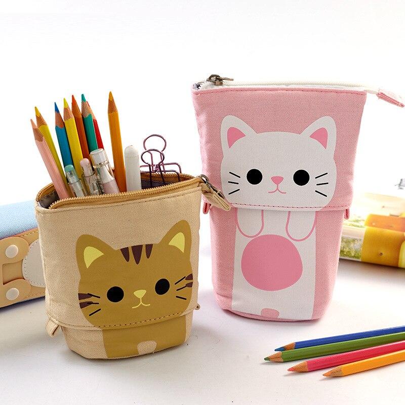 Angoo [Fun] Pen Pencil Bag Case, Cartoon Animal Party Cat Bear Duck Canvas Foldable Holder Stationery Table Organizer F445