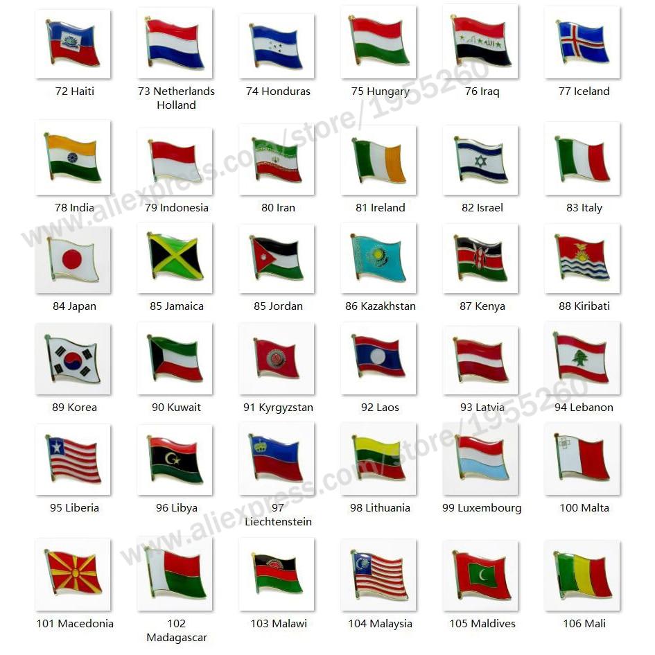 Nationalen Flagge Metall Revers Pin Flagge Pin Abzeichen Alle Über die Welt Holland Irak Indien Israel Italien Japan Korea Libanon laos Lettland