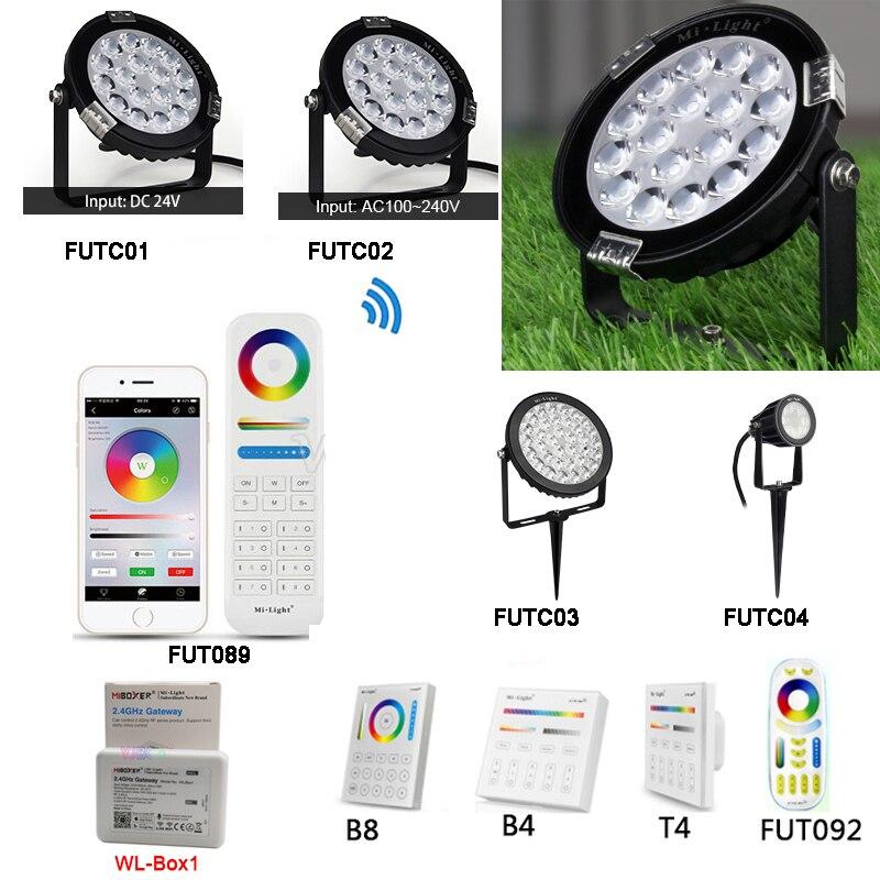 Miboxer FUTC04 RGB + CCT 6 W Inteligente CONDUZIU a Luz Do Jardim AC100 ~ 240V 110V 220V conduziu a Iluminação Do Jardim da lâmpada Ao Ar Livre IP66 À Prova D Água