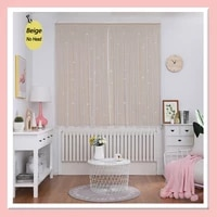blackout curtains for bedroom living room star cut out stripe curtain decoration drapes punch free protective wall easy install