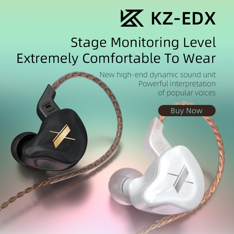 Novo kz edx com fio fones de ouvido dinâmico de alta fidelidade graves fone de ouvido com cancelamento ruído do monitor fone de ouvido
