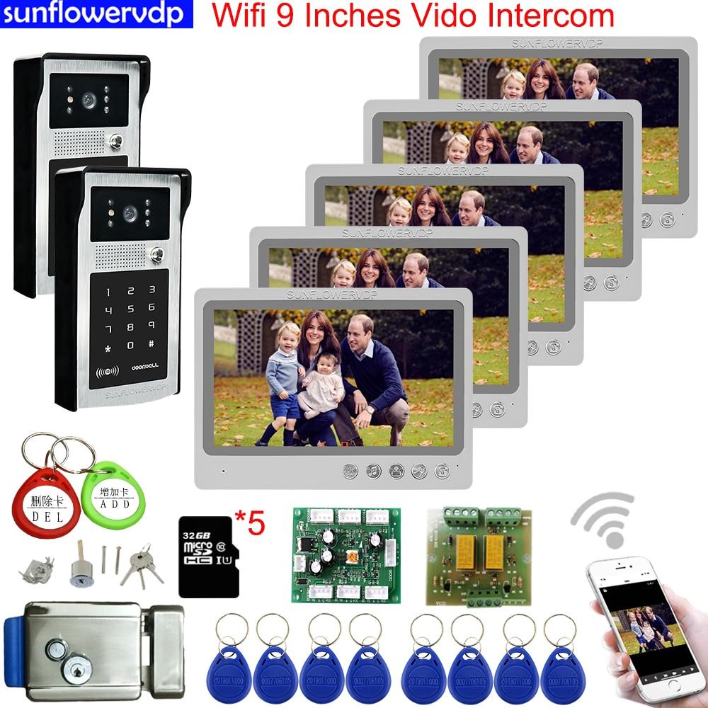 5 monitores de seguranca em casa wifi 9 polegada video porteiro 32gb cartao sd video