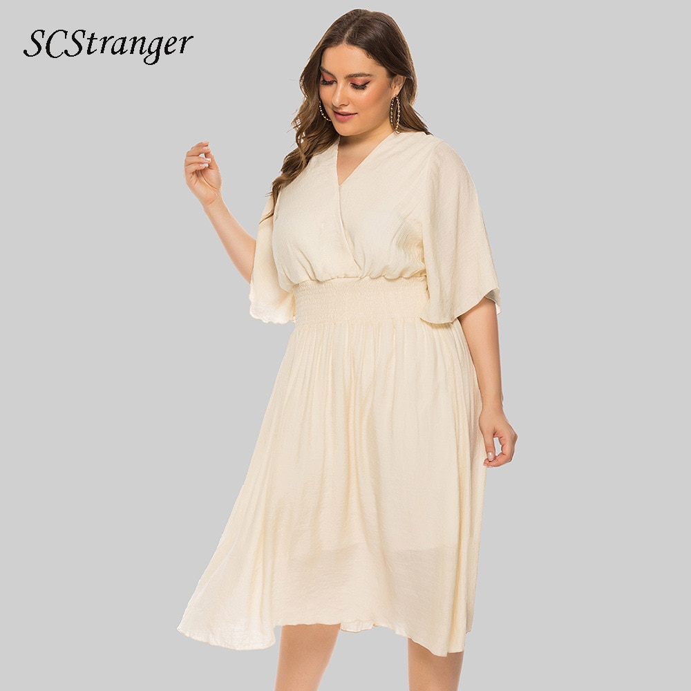 Midi Dress For Women Plus Size Womens Loose Solid Summer V Neck Temperament Waist Flying Sleeve Dres