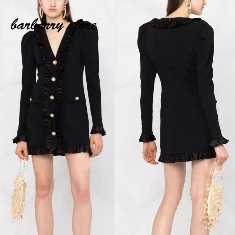 luxury brandagaric edge printed fashion women's temperament V-neck multifunctional slim fit single breasted long sleeved dress