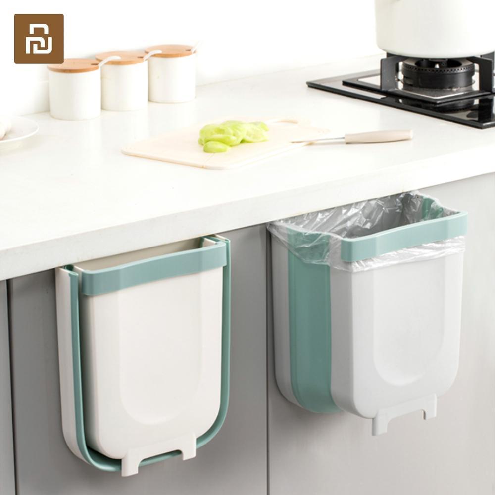 Jordan&Judy Wall Mounted Folding Waste Bin Kitchen Cabinet Door Hanging Trash Bin Garbage Car Trash Can Kitchen Accessories