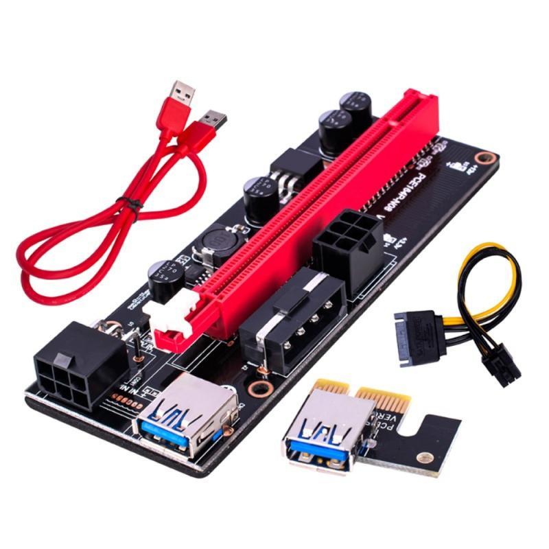 Extensor PCI-E Riser 009S 1X 16x, tarjeta adaptadora Dual de 6 pines,...