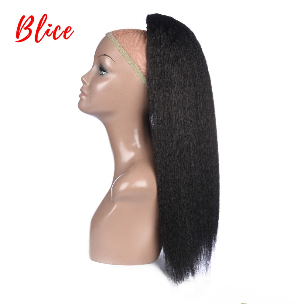 "Blice cordón 100% Kanekalon resistente al calor sintético 16 ""-24"" pelo recto rizado con dos peines de plástico cola de caballo extensiones de"