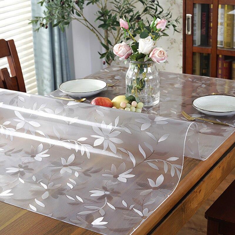 لينة الزجاج Tablecloth الشفافية بولي كلوريد الفينيل مفرش طاولة مقاوم للماء oil proof المطبخ طاولة طعام غطاء ل مستطيلة الجدول 1.0 مللي متر