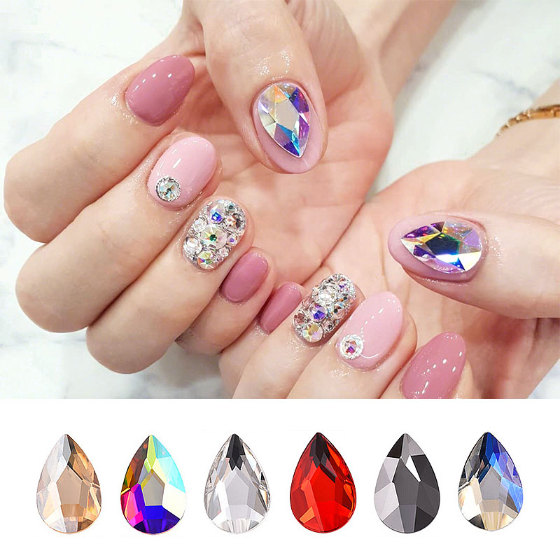 HNUIX 10 pc Glass Crystal Rhinestones 3D Large Water Drop Stones Nail Art Decoration Polishing Charm Design Accessories Jewelry